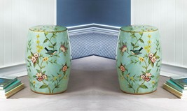 2 Green Ceramic Stools, Side Tables, Plant Stands with Blue Birds & Flower Theme - $174.95