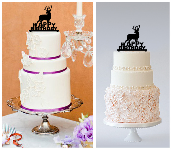 Decorations Birthday Cake topper,Cupcake topper,silhouette deer Package : 11 pcs