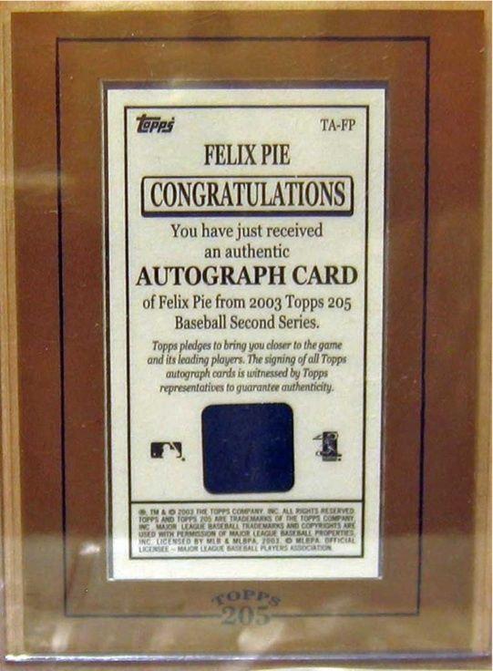 2003 Topps 205 Autografi # Fp Felix Pie C2