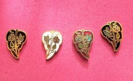 Vintage 1980's Cloisonne Enamel Floral Butterfly Goldtone POST Earrings ... - $3.96