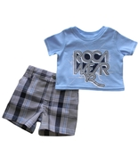 Rocawear 3-6 Mos. Baby Boys Blue Top and Plaid Shorts - $12.99