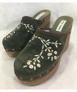 Steve Madden Ariell Green Embroidered Flower Platform Wedge High Heels 8M - $49.50