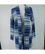 Style & Co Women's Cardigan M Medium Open Front Blue Combo - $78.21