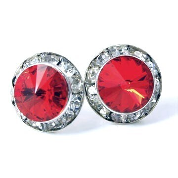 Silver Siam Red Swarovski Crystal Rondelle Bridesmaid Stud  Earrings