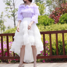 White Hi-lo Tulle Layered Skirt Tulle Outfit Handmade Wedding Bridesmaid Skirt image 2