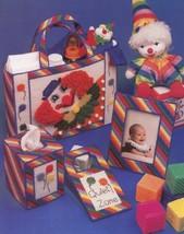 Baby Nursery Clown Set Tote Frame Tissue Sign Plastic Canvas Pattern Leaflet - $1.32