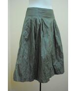 H&M 10 Skirt Gray Green Crinkle Full Pleated Modern Classic New - $19.58