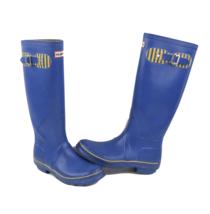 Hunter Boots Womens Size 5 Tall Outdoor Waterproof Rubber Rain Boots Blue Yellow - $69.25