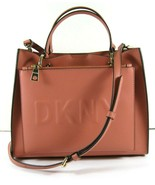 DKNY Mott NEW Coral Leather Tote Crossbody Shoulder Embossed Logo Snap X - $102.16