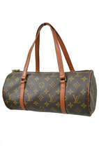 Louis Vuitton Brown Monogram Leather Medium Cylinder Satchel Bag Purse 7... - $225.72