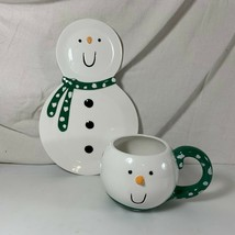 Snowman Plate & Cup Christmas Department 56 Snack Set Green Preowned - $9.89
