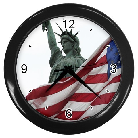 American Flag Decorative Wall Clock (Black) Gift model 16468674