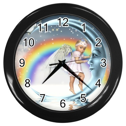 Primary image for Baby Angel Moon Decorative Wall Clock (Black) Gift model 14548188