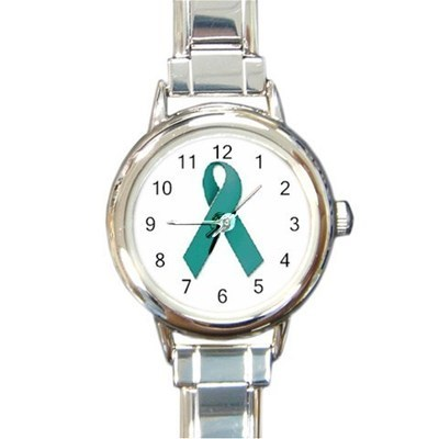 Ladies Round Italian Charm Watch Ovarian Cancer Awareness Ribbon model 14680816