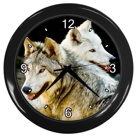 Twin Wolves Decorative Wall Clock (Black) Gift model 14516430