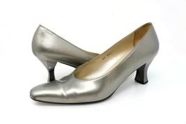 Salvatore Ferragamo Womens 9 AA Classic Pump Shoes Silver Spool Heels Sl... - $21.99