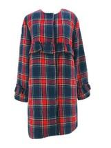 Jack By BB Dakota Women's Blue Plaid Swag Out Plaid Ruffle Coat Size Sma... - $69.30
