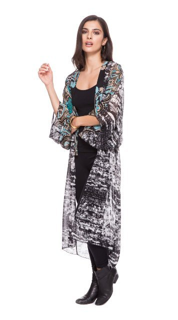 Adore Long Hand-Painted Black/Gold/Orange Multi-Color Duster - EXTRA 10% Off! image 3