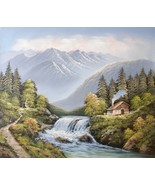 Cabin in Forest Overlooking River 20 x 24 original oil painting on canvas - $79.19