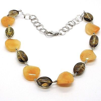 925 Silver Necklace, Brown Jade Disc Wavy, Oval Smoky Quartz