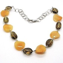 925 Silver Necklace, Brown Jade Disc Wavy, Oval Smoky Quartz image 1
