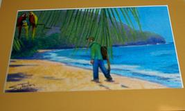 original art drawing 8x10 matted to 11x14 beach ocean parrot - $9.00