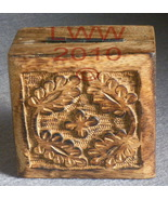 Flower Carved Hinged Square Wood Trinket Jewelry Box  - $4.99