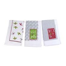 3 X Fête de Noël Mots Holly Ivy Cuisine Thé Serviettes 100% Cotton - $18.13