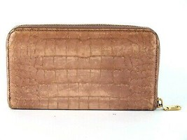 Authentic MIU MIU Light Pink Crocodile Embossed Leather Zip Around Long ... - $78.21