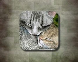 Rubber Coasters set of 4, Cat 505 from art painting by L.Dumas - $10.99