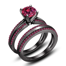Pink Sapphire Womens Wedding Bridal Ring Set 14k Black Gold Over 925 Rea... - $95.99