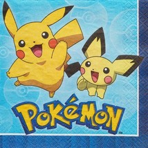 Pokemon Pikachu Core Lunch Napkins 16 Per Package Birthday Party Supplie... - $3.55