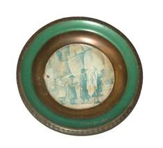 Judaica Israel Vintage Small Copper Plate Tray Jerusalem Kotel Wall Hang 50's