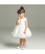Newly White Tulle Short Pricess Bady Girl Dress With Big Bow First  Comm... - $27.33