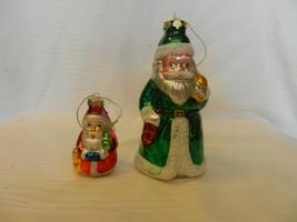 Pair of Vintage Santa Claus Glass Ornaments, Green Coat, Red Coat - $29.70