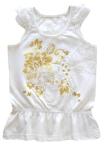 Girls Size 4 Beige Lace Butterfly with Lace Yoke Back Top - $5.99