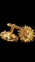 gold cufflinks blazing sun 3d effect design,smiling face. in gift box