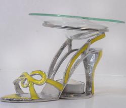 Yellow Bow Tie Sandal Pewter High Heel Shoe Tea Light - $21.50