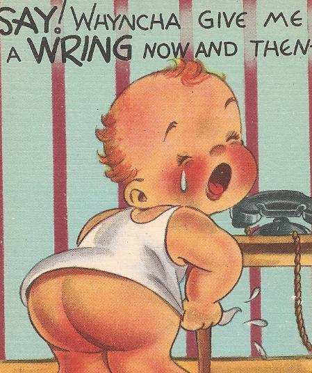 """Mid-Century Comic Risque Post Card """"Say! Whyncha Give Me A Wring."""" Uncirculated!"""