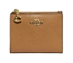 NWT COACH Small Snap Card Case Wallet Pouch Classic Leather Gold Saddle F73867 - $65.34