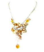 Necklace Sea Shell Pearl & Glass Beads Gold - $12.99