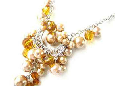 Necklace Sea Shell Pearl & Glass Beads Gold