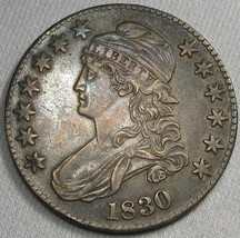 1830 Large 'O' Capped Bust Silver Half Dollar CH XF Coin AG42 - $274.70