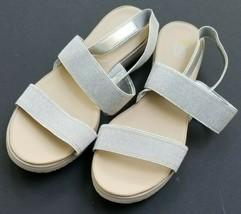 Easy Spirit sandals size 10 elastic silver glitter slingback Tamora - $37.04