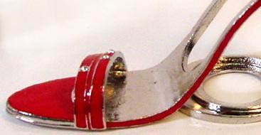 Red  Sandal Pewter High Heel Shoe Tea Light