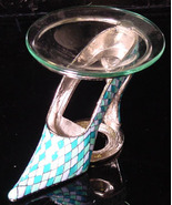 Blue/ White Pewter High Heel Tea Light - $21.50