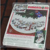 Dimensions Tree Skirt Table Cover 8472 Vintage 1995 Christmas Cross Stitch - $79.19