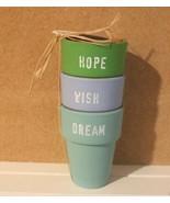 "SET 3 TERRA COTTA CLAY POTS 3"" X 4"" HOPE-WISH-DREAM HANDPAINTED - $13.81"