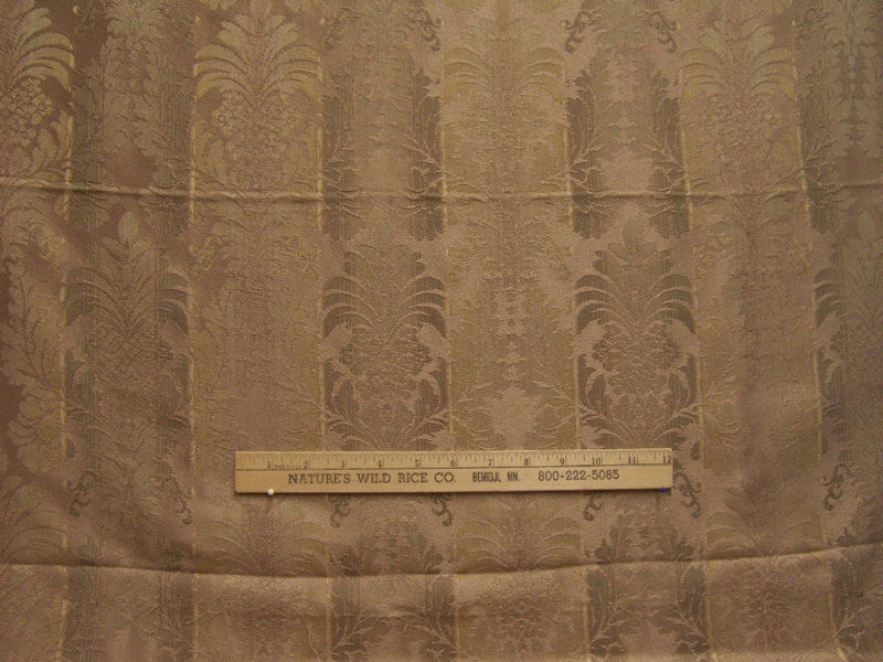 TAN EMBOSSED DECORATOR FABRIC & FANCY TWIST TRIM LOT CRAFT QUILT SEW NICE CR 190
