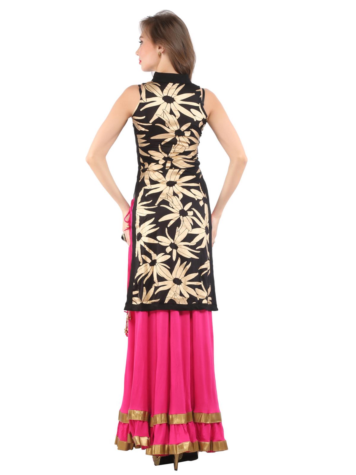 Ira Soleil 2pc set of black sleevless block printed kurti with pink long skirt o